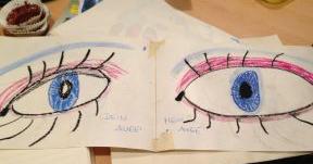 Zwei gemalte Augen