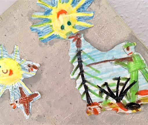 Ein Kinderbild mit einem Jäger und zwei Sonnen