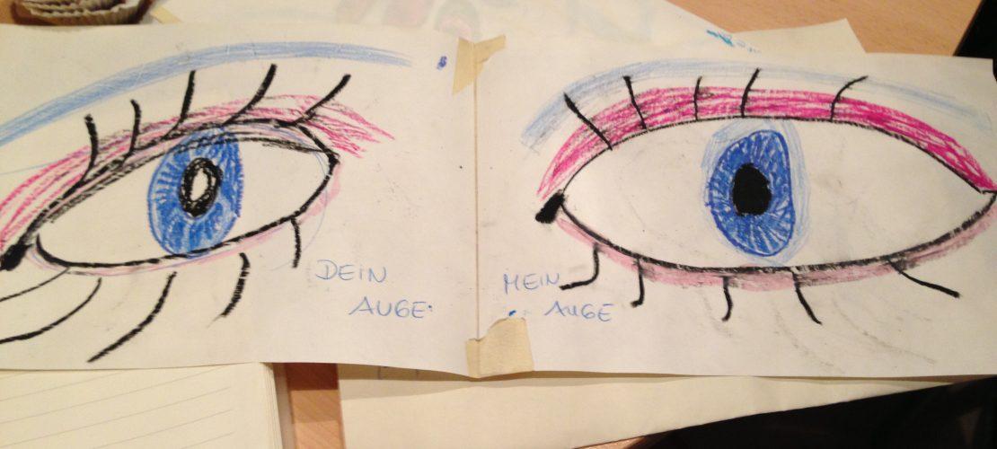 Zwei gemalten Augen